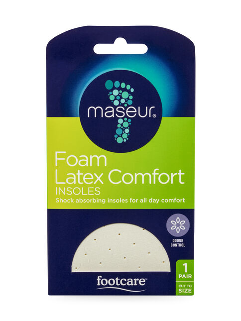 Foam Latex Comfort Insoles, 1 pair