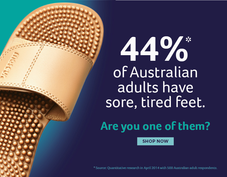 44% of Australian adults have sore, tired feet. Are you one of them? Shop Maseur Sandals