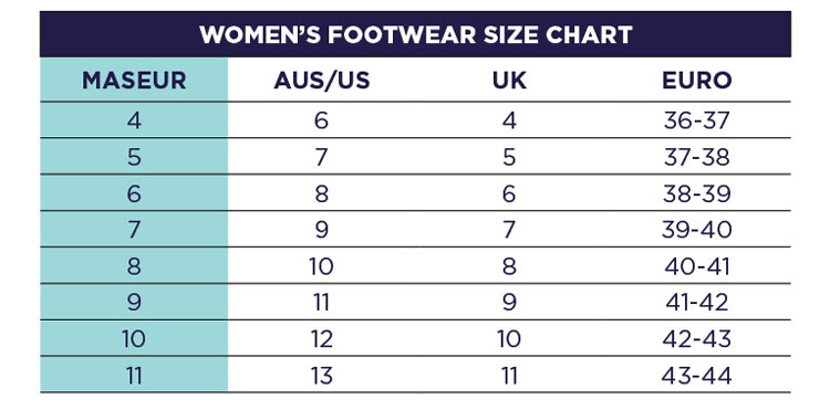 Maseur Size Guide Womens