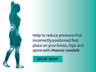 Help to reduce pressure that incorrectly positioned feet place on your knees, hips and spine wit Maseur sandals.